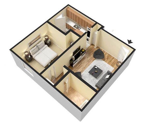 3D Furnished 1 Bedroom 1 Bathroom. 672 sq. ft.
