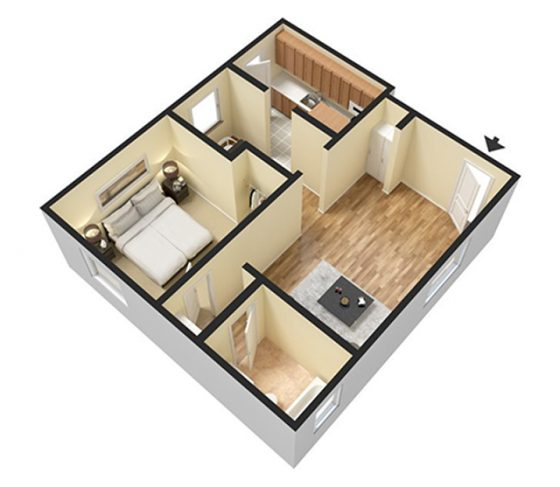 3D Furnished. 1 Bedroom 1 Bathroom w/dining room. 692 sq. ft.