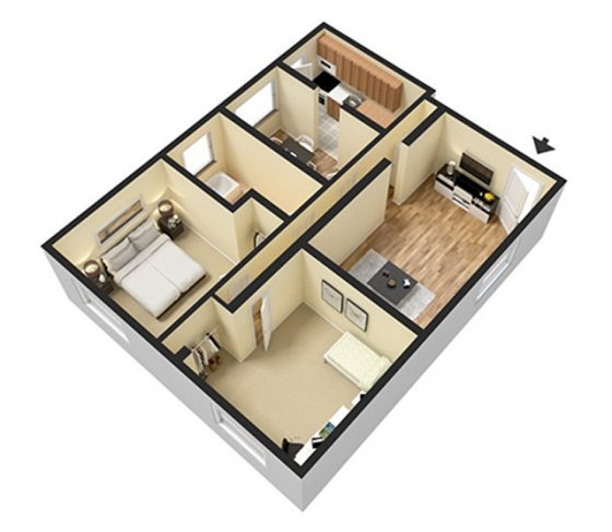 3D Furnished. 2 Bedroom 1 Bathroom. Large. 910 sq. ft.
